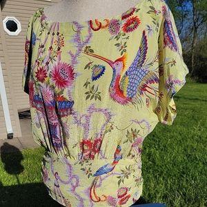 Anthropologie Maeve Bird Yellow Floral 100% Silk